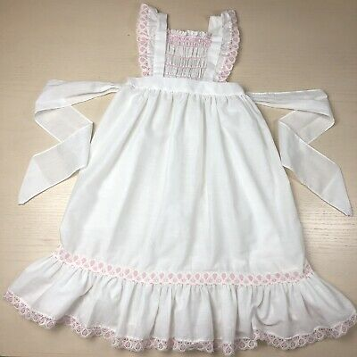 51a33c2fffee Vintage Polly Flinders Smocked Long Maxi Pinafore Dress 4t White Pink Easter