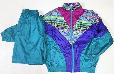 Vtg Bold Spirit Tracksuit Windbreaker Pants Set Teal Blue Purple Womens Large