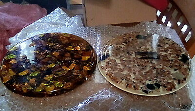 """Two Vintage Lucite Trivets 5 1/2"""" Genuine Abalone Shells Plymptons made in Calif"""