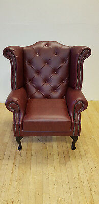 Chesterfield Queen Anne Chair in OX Blood Leather