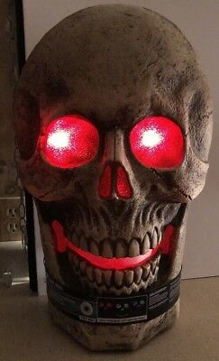 """23.75"""" Halloween Giant Skull Led Prop Haunted House Horror Lighted Spooky Sounds"""