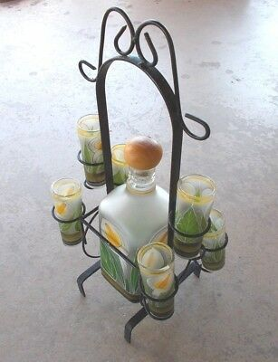 Tequila Set Decanter 6 Shot Glasses w Iron Stand Amatitan Jalisco Mexico Vintage