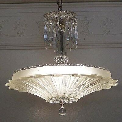 549z Vintage 40's Ceiling Light Lamp Fixture  Chandelier antique SUNFLOWER