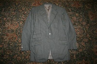 Luciano Barbera Gray Chalk Stripe Flannel Wool Two Button Suit 40 42 R ITALY