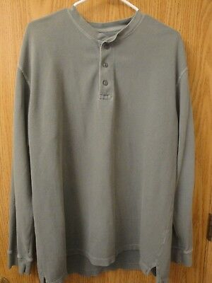 1c032e3985e1f Mens Green Cabelas Thick Knit 1/3 Button Long Sleeve Large Reg Clean Shirt