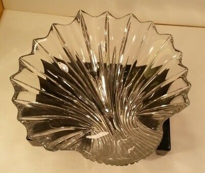 Riedel Clear Crystal Glass Centerpiece Salad Fruit Bowl Seashell Scallop Design