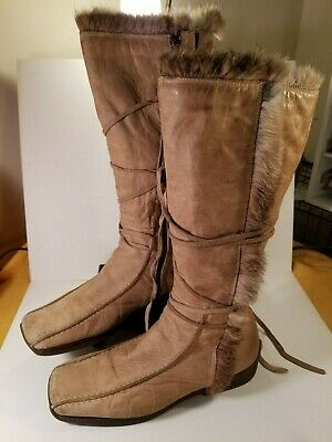 cc977020134 SACCO BROWN SUEDE Leather Knee High Fashion Boots Size 41 EUR Made ...
