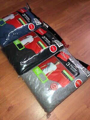 Hanes Mens Pocket T-Shirt 6 Pack Tagless 3XL BLACK BLUE GREY OLIVE BURGUNDY !!