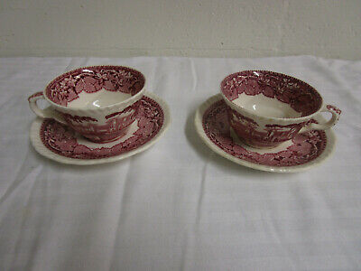MASONS / MASON'S  VISTA PINK RED 2 Cups and 2 Saucers