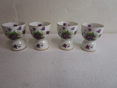 4 Lefton SWEET VIOLETS Egg Cup Cups 3.5 Inch Gold trim.