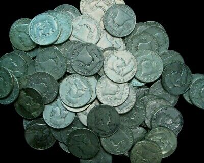 100 Franklin Half Dollars , $50 Face 90% Silver Coin Lot, Circulated, 006