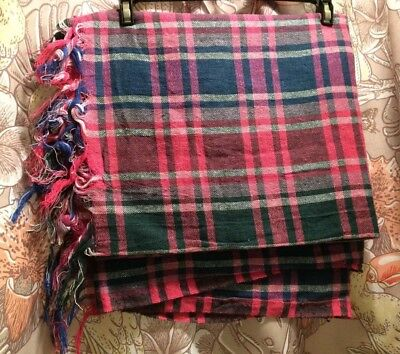 VTG Pink Plaid Tablecloth Linen Cotton Fringe Rectangle DEAD STOCK NOS 60's 70's