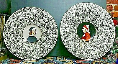Monumental STUNNING 19th Century Italian Faience Portrait Chargers Signed!