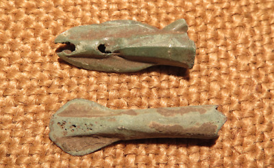 Scythian- Sarmatia Bronze 2 pcs.Old Original Ancient Barbed Arrowhea 7-4 BC #5