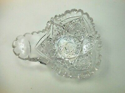 Scarce Brilliant Period Cut Glass Nappy Handled Condiment Dish