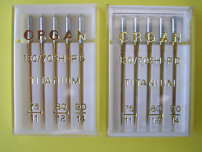 10 Titanium Sewing Machine Needles Fits Toyota/Janome/Singer/Brother/Silver/Elna