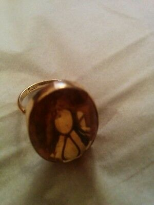 1930s Antique 18ct Gold Large Citrine Stone Dress Ring Size N