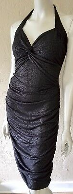 BEBE Black Stretch Cat Print SEXY HALTER DRESS L Ruched Knotted Sweetheart Bust