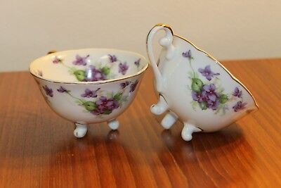 Pair/Set of Lefton 3 Footed Tea Cups Violets Hand Painted China Crown Backstamp