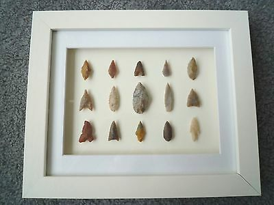 Neolithic Arrowheads in 3D Picture Frame, Authentic Artifacts 4000BC (Z087)