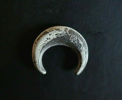 Ancient Viking Silver Amulet. Small Pendant of Norse Lunar Symbol, c 950-1000 Ad