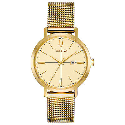 Bulova Women's Classic Quartz Gold Tone Mesh Bracelet 34.5mm Watch 97M115