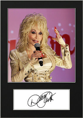 Signed Mounted Photo Reprint 10x8 Size to Fit 10x8 Inch Frames Photo Display Present Gift Collectible Dolly Parton #2 Machine Cut