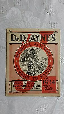 """Vintage """" DR. D. JAYNE'S MEDICAL ALMANAC and GUIDE TO HEALTH """"  1934"""
