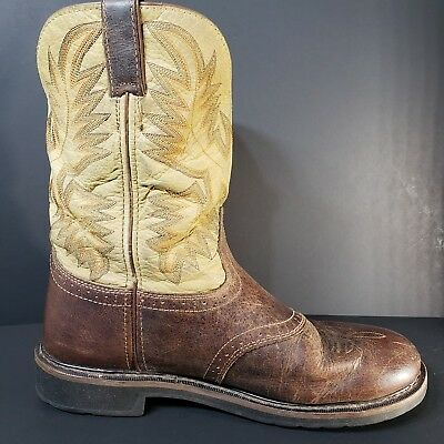 0bd34e2e440 JUSTIN MENS WESTERN Work Boots 12 D Soft Toe Size 12D Waxy Brown ...
