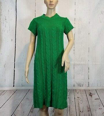 2bec22cfd68 New Directions Womens Small Bright Green Sweater Dress SS Cable Knit Chunky