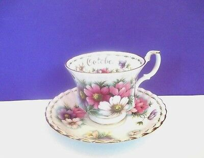 "Royal Albert ""October"" Cosmos Cup and Saucer, England"