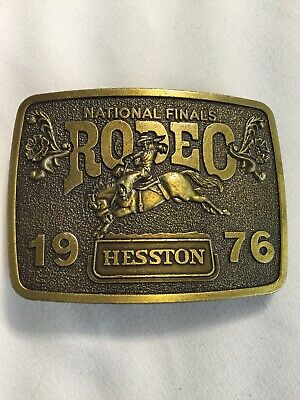 Vintage 1976 Hesston National Finals Rodeo Brass Colored Belt Buckle