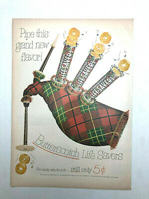 Vintage 1952 New Life Savers Butterscotch Flavor Print AD Bag Pipes