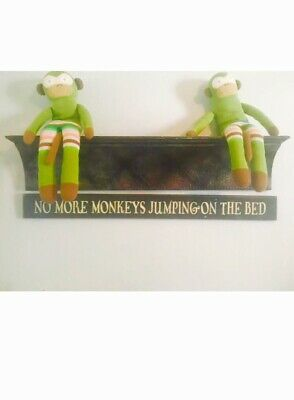 NO MORE MONKEYS JUMPING ON THE BED  WOOD SIGN Hand Painted