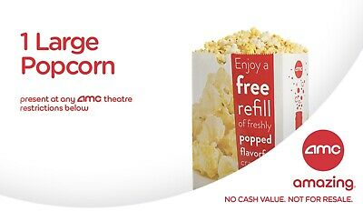 AMC Theaters - 1 FREE Large Popcorn - Expires 05/31/19 *Fast Delivery*