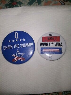 (10) buttons-TRUMP WWG1WGA MAGA Q COLOR BUTTONS MADE IN USA DRAIN THE SWAMP