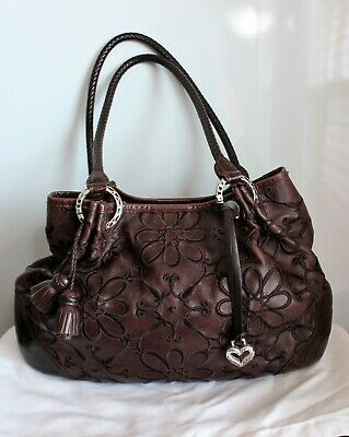 BRIGHTON VALENCIA Embroidered Floral Brown Leather 10x15 Hobo Bag Purse VGUC