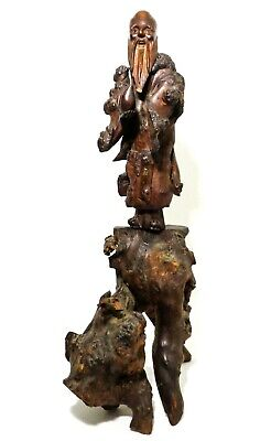 Mid-Late 19Th C Antique Burlwood Hand Carved Chinese Figure Of Bearded Man/Monk