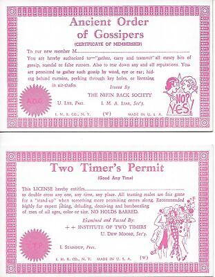 LOT OF 2 Ancient Order of Gossipers Two Timer's Permit humor ~ arcade postcard