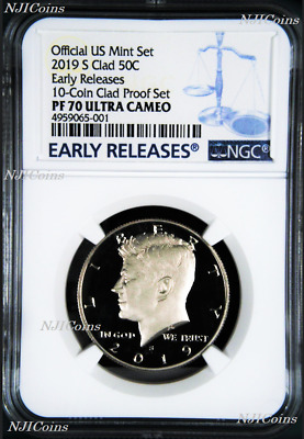 2019 S Proof Kennedy Half Dollar 50c NGC PF70 ULTRA CAMEO Early Releases Blue LB