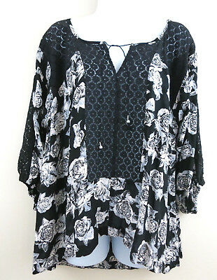 7fe01d0895ac0 FREE PEOPLE Black Roses Tunic Top Peasant Blouse Crochet Lace Boho  Oversized S