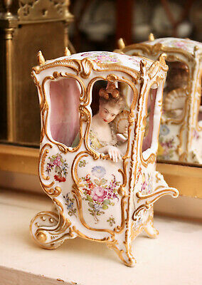 A Rare C19th Antique Choisy-le-Roi Group, Lady in a Sedan Chair