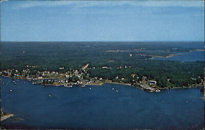 Port Clyde Maine ME aerial view coastal resort and fishing village ~ 1970s