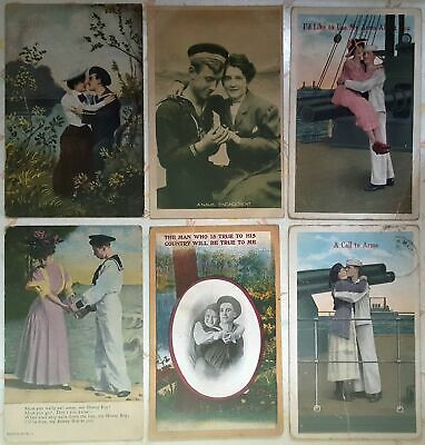 LOT OF 6~couples~love~romance~military~sailors~engagement~c1909-1920s