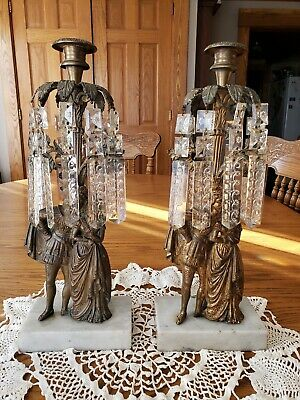 Antique Pair Candelabra Girandole Candle Holder Courting Couple Cut Glass Spears