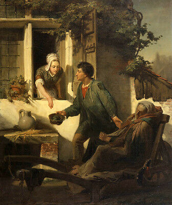 Oil painting Lawrence Alma-Tadema  Male portraits Beggars with Good countrywoman