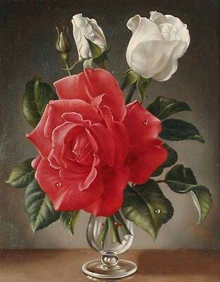 Nice Oil painting still life Nice roses flowers in glass vase hand painted