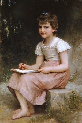Stunning Oil painting Bouguereau beautiful young girl writing in forest canvas