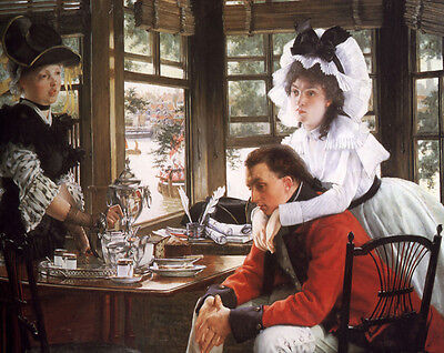 Beautiful Oil painting Tissot - Bad News Young lady with her Husband canvas 36""
