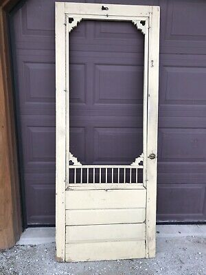 Antique Reclaimed Victorian Wood Farm House Screen Door Yellow Painted
